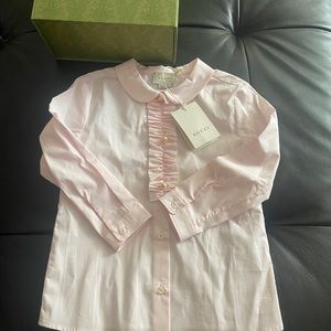 Gucci girls pink cotton shirt